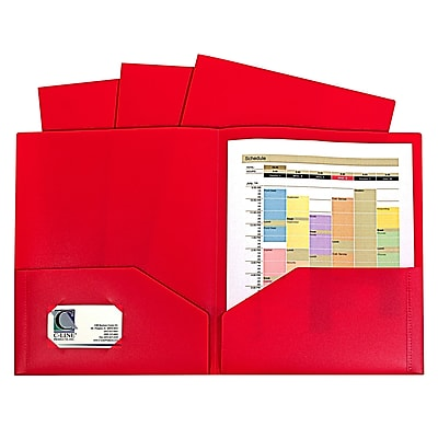 C-Line, Red Two Pocket Poly Portfolios Without Prongs Pack of 10, 8.5
