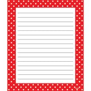 "Trend, Polka Dots Red Note Pad Ruled, 6 1/2"" x 7 3/4, Bundle of 6, 50 sheets/pd total of 6 pads 300 sheets (T-72352)"