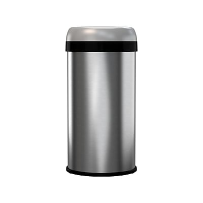 halo™ 13 Gallon Dual-Deodorizer Round Open Top Fingerprint-Proof Stainless Steel Trash Can