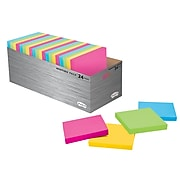 """Post-it® Super Sticky Notes, 3"""" x 3"""", Assorted Brights, 70 Sheets/Pad, 24 Pads/Pack (654-24SS MT-CP)"""