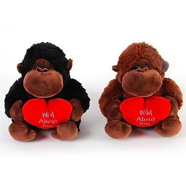 Flomo Valentine Plush Sitting Gorilla with Heart - 9 in. - Case of 12 (DLR336640)