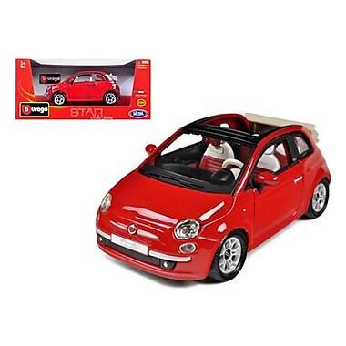 Bburago 2009 Fiat 500 C Cabriolet Red 1-24 Diecast Model Car (DTDP380)