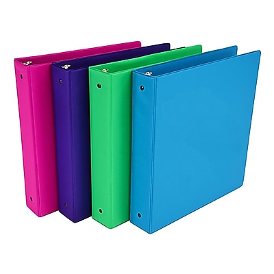 Fashion Color 3 Ring Storage Binder, 1.5 inch Round Ring, Assorted 4 Pack