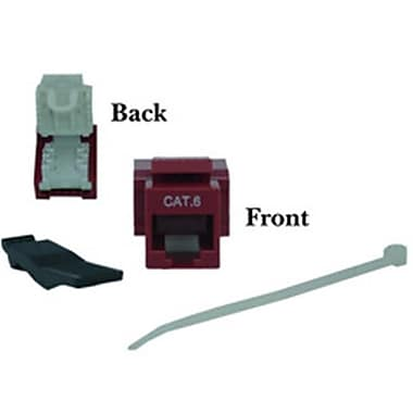 CableWholesale Cat6 Keystone Jack Red Toolless RJ45 Female (CBLW922)