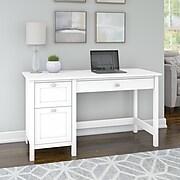 Bush Furniture Broadview Computer Desk with 2 Drawer Pedestal, Pure White (BDD254WH-03)
