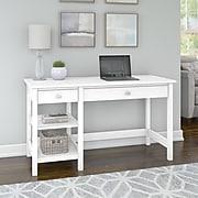 Bush Furniture Broadview Computer Desk with Shelves, Pure White (BDD154WH-03)