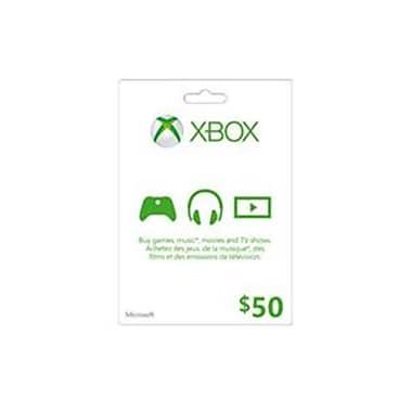 XBox Live Cards Microsoft Live Card 50 Dollar Xbox Videogame (DAHD19280)