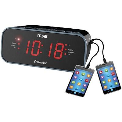 Naxa Nrc-182 Bluetooth Dual Alarm Clock Radio With 2 Usb Charge Ports (NAXRC182)