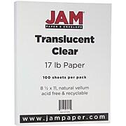 """JAM Paper Translucent Clear Vellum Paper, 17 lbs., 8.5"""" x 11"""", 500/Ream (1379)"""