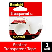 """Scotch® Transparent Tape, w/Built in Refillable Dispenser, Crystal Clear Finish, Glossy, 1/2"""" x 12.5 yds., 1"""" Core, 1 Roll (144)"""