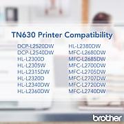 Brother TN-630 Black Toner Cartridge, Standard Yield