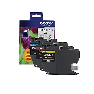 Brother LC30133PKS Cyan/Magenta/Yellow High Yield Ink Cartridge, 3/Pack