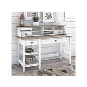 """Bush Furniture Mayfield 54"""" Computer Desk with Shelves and Desktop Organizer, Pure White/Shiplap Gray (MAY001GW2)"""