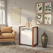 "kathy ireland® Home by Bush Furniture Voss 31.75"" Storage Cabinet with 1 Shelf, Cotton White/Serene Cherry (OSS129WC2-03)"