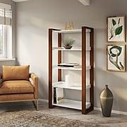 kathy ireland® Home by Bush Furniture Voss 5 Shelf Etagere Bookcase, Cotton White/Serene Cherry (OSB130WC2-03)