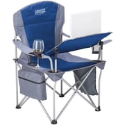 Creative Outdoor Distributor i-Chair Aluminum Frame Folding Chair With Tilt Adjust Table, Blue/Gray, 810396