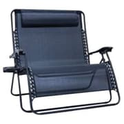 Creative Outdoor Distributor Love Seat Zero Gravity Folding Chair, Black (810310)