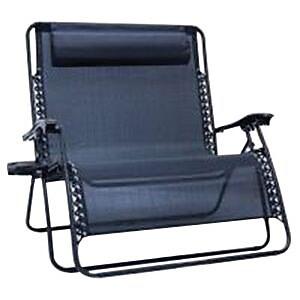 Creative Outdoor Distributor Love Seat Zero Gravity Folding Chair, Black (810310)