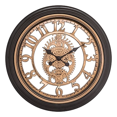 Equity by La Crosse 20 Inch Brown Cut-out Gears Analog Wall Clock (86611)