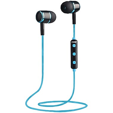 Naxa, Bluetooth Isolation Earbuds with Microphone & Remote, Blue, (NE-950 BLACK/BLUE)