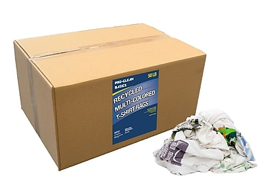 Pro-Clean Basics Recycled T-Shirt Cloth Rags, 50-pound box, 24