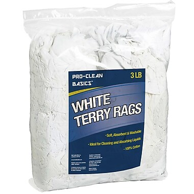 Pro-Clean Basics Terry Cloth Rags, 3-pound bag, 6