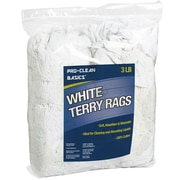 "Pro-Clean Basics Terry Cloth Rags, 3-pound bag, 6"" W x 14"" L, White (ST99200)"