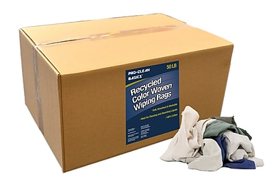 Pro-Clean Basics Recycled Woven Wiping Rags, 50-pound box, 16