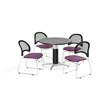OFM 42 Inch Round Mesh Base Gray Nebula Table and Four Plum Chairs (PKG-BRK-175-0029)