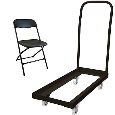 Advantage Folding Table Cart With 36 Black Plastic Folding Chairs (1DHCDPPFCBLK36)