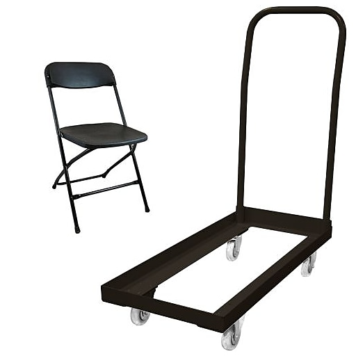 Advantage Folding Table Carts With 108 Black Plastic Folding Chairs 3 Pack (3DHCDPPFCBLK108)