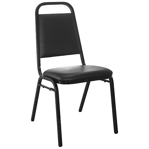 """Advantage Black Vinyl-Padded Stackable Chairs 1.5"""" Padded Seat 25 Pack (827VINYLBBSB25)"""