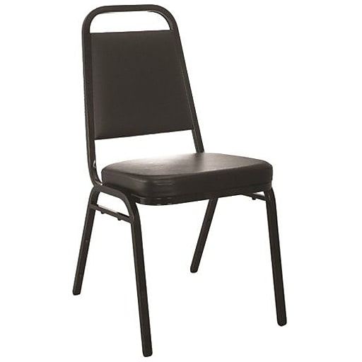 """Advantage Black Vinyl-Padded Stackable Chairs 2.5"""" Padded Seat 2 Pack (627VINYLBBSB2)"""