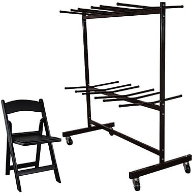 Advantage Two Tier Folding Chair Cart With 60 Black Resin Folding Chairs (FCC84RFWCA10160)