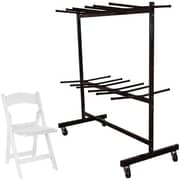 Advantage Two Tier Folding Chair Cart With 60 White Resin Folding Chairs (FCC84RFWCA10060)