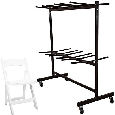 Advantage Two Tier Folding Chair Cart With 60 White Wood Folding Chairs (FCC84WFCW60)