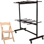 Advantage Two Tier Folding Chair Cart With 60 Natural Wood Folding Chairs (FCC84WFCNWF60)