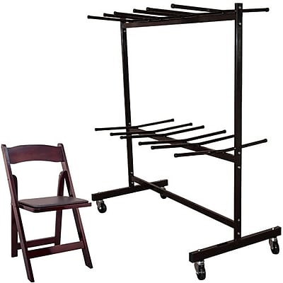 Advantage Two Tier Folding Chair Cart With 60 Mahogany Wood Folding Chairs (FCC84WFCM60)