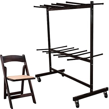 Advantage Two Tier Folding Chair Cart With 60 Fruitwood Wood Folding Chairs (FCC84WFCFW60)