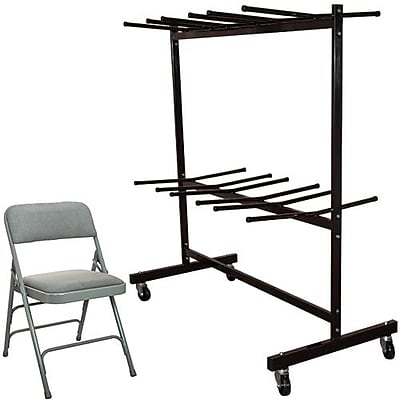 Advantage Two Tier Folding Chair Cart With 72 Gray Fabric Padded Metal Folding Chairs (FCC84DPIFGG72)