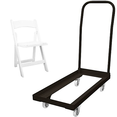 Advantage Folding Table Cart With 20 White Wood Folding Chairs (1DHCD80WFCW20)