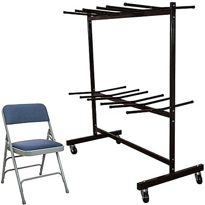 Advantage Two Tier Folding Chair Cart With 72 Navy Fabric Padded Metal Folding Chairs (FCC84DPIFGN72)
