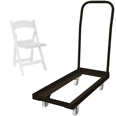 Advantage Folding Table Cart With 20 White Resin Folding Chair (1DHCDRFWCA10020)