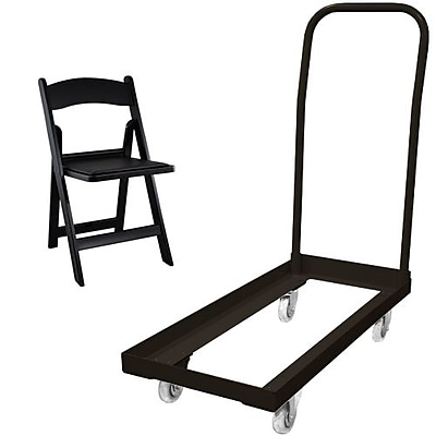 Advantage Folding Table Cart With 20 Black Resin Folding Chair (1DHCDRFWCA10120)