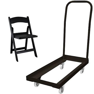Advantage Folding Table Cart With 20 Black Resin Folding Chair (1DHCDRFWCA10120)