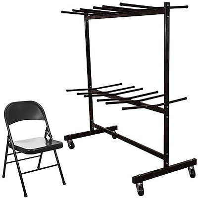 Advantage Two Tier Folding Chair Cart With 84 Black Metal Folding Chairs (FCC84EDPIMBLK84)