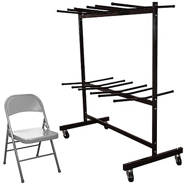 Advantage Two Tier Folding Chair Cart With 84 Gray Metal Folding Chairs (FCC84EDPIMGRY84)