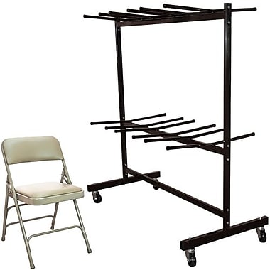 Advantage Two Tier Folding Chair Cart With 72 Beige Vinyl Padded Metal Folding Chairs (FCC84DPIVBB72)