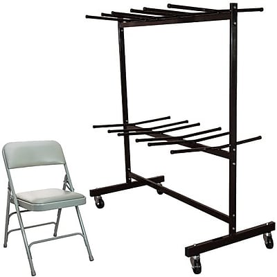 Advantage Two Tier Folding Chair Cart With 72 Gray Vinyl Padded Metal Folding Chairs (FCC84DPIVGG72)