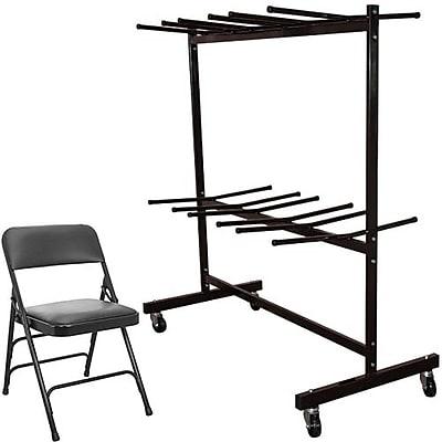 Advantage Two Tier Folding Chair Cart With 72 Black Vinyl Padded Metal Folding Chairs (FCC84DPIVBLK72)